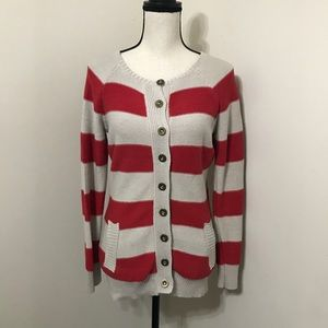 ✨Tulle Striped Red and Taupe Cardigan/Sweater✨